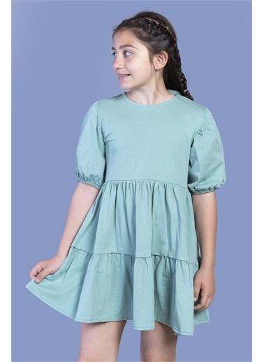 Toontoy Kids Toontoy Kız Çocuk Arkası Bağlama Detaylı Balon Kol Elbise Yeşil